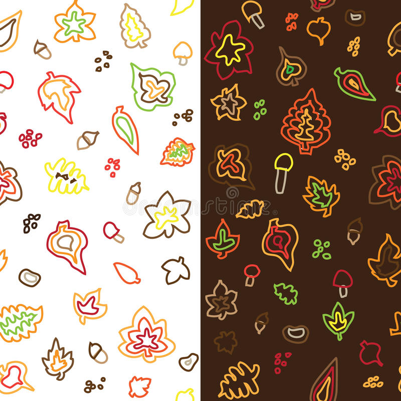 Seamless retro fifties stroke autumn leaves patter. Seamless retro fifties stroke autumn leaves nuts pattern royalty free illustration
