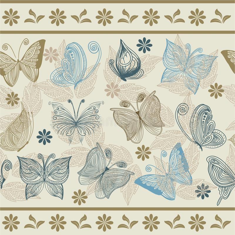 Download Seamless Retro Floral Background With Butterflies Stock Vector - Image: 21464294
