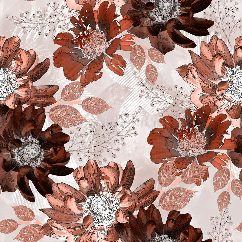 Seamless retro floral pattern. Brown, orange flowers on a light beige background. stock illustration