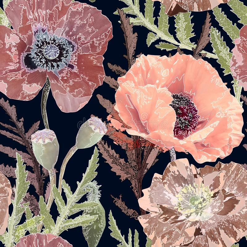 Seamless retro floral pattern. Pink poppies on black background. vector illustration