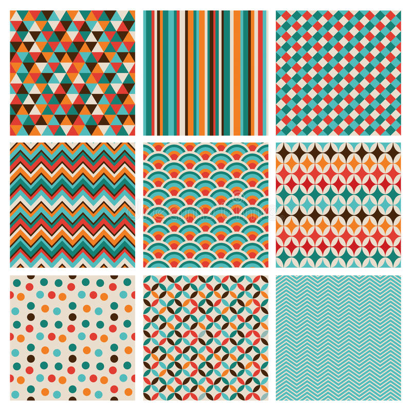 Seamless retro geometric hipster background set. royalty free illustration