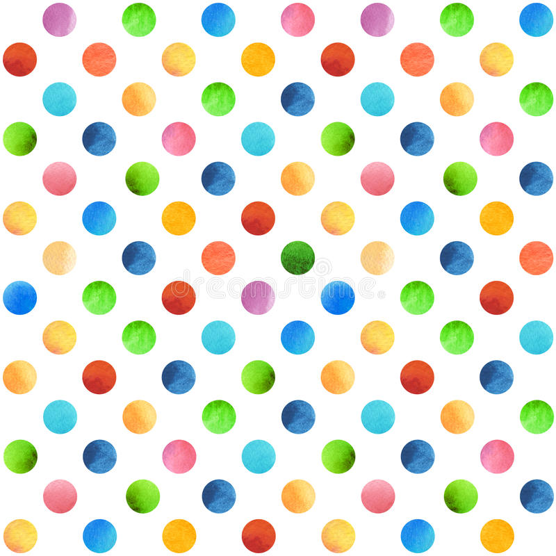 Seamless retro geometric pattern with polka dots. Colored ornament. Watercolor background, wrapping paper stock photography