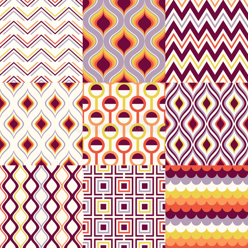 Seamless retro geometric pattern set stock illustration