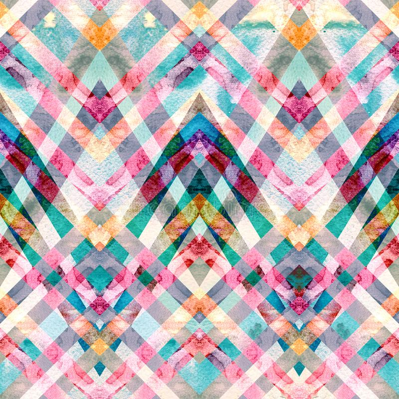 Seamless retro geometric pattern with zigzag lines. Multicolored watercolor background vector illustration