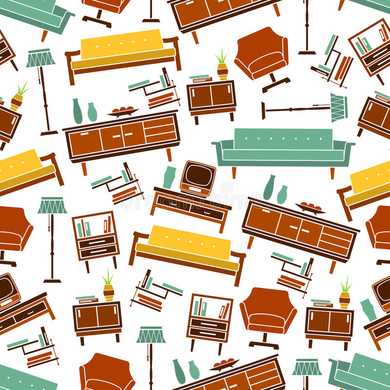 Set Interior Design House Rooms Furniture Stock Vector: Seamless Retro Home Furniture Pattern Background Stock
