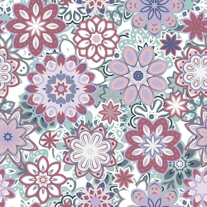 Seamless retro kaleidoscopeblommabakgrund mönstrar royaltyfri illustrationer