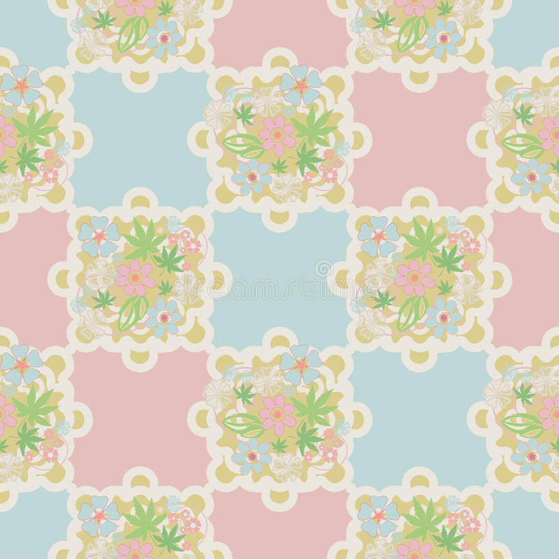 Seamless retro lace floral romantic pattern texture background royalty free illustration