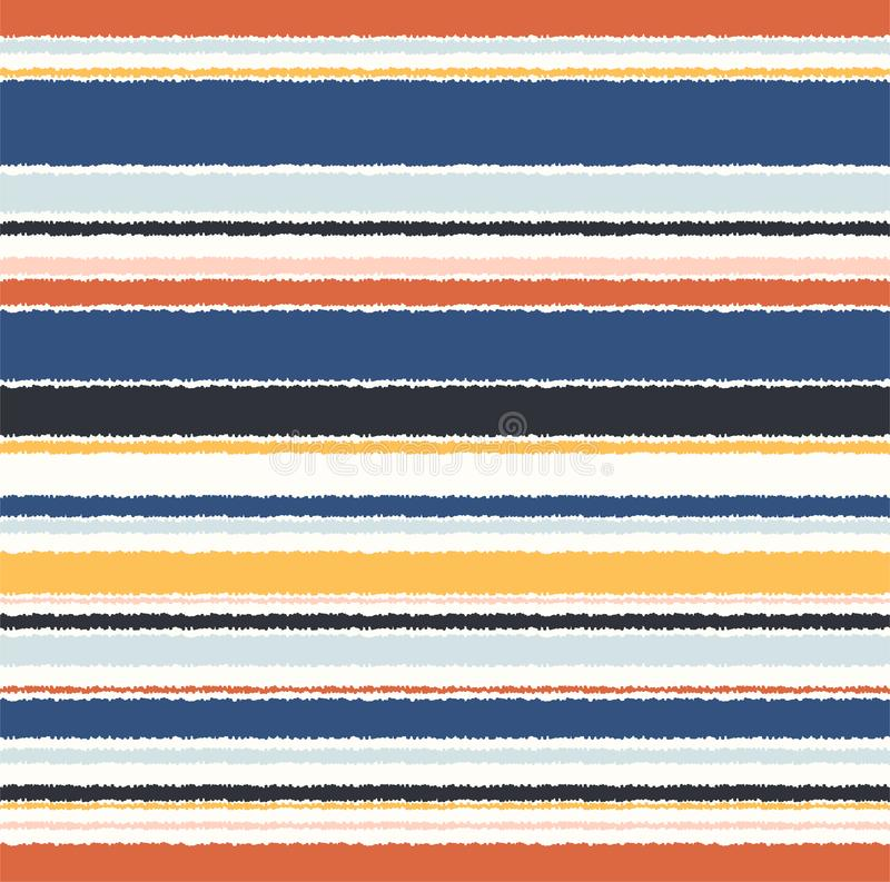 Seamless retro multicolored fabric horizontal parallel stripes textile pattern stock illustration