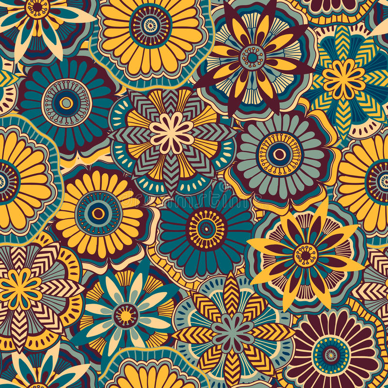 Seamless retro pattern from decorative doodle flowers vector illustration