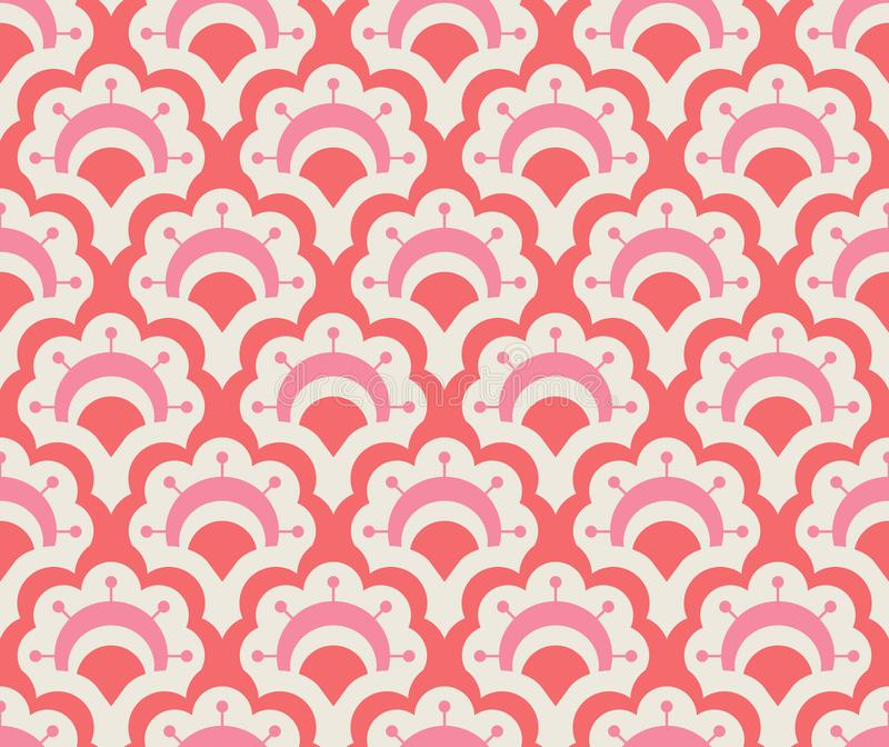 Seamless retro pattern with floral elements stock illustration