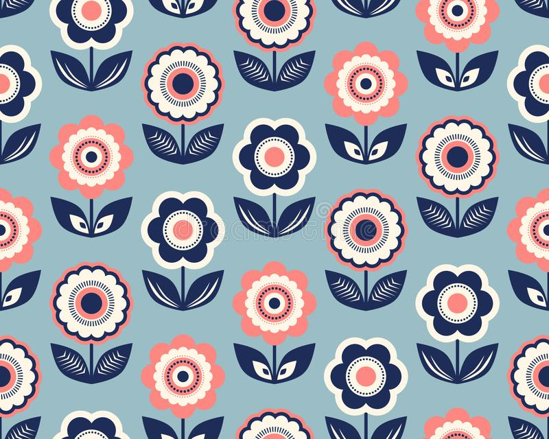 Seamless retro pattern with flowers stock illustration