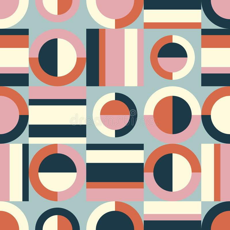 Seamless retro pattern with geometric elements vector illustration