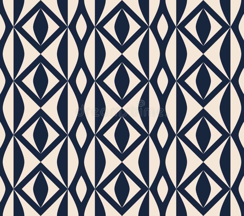 Seamless retro pattern with geometric shapes stock illustration