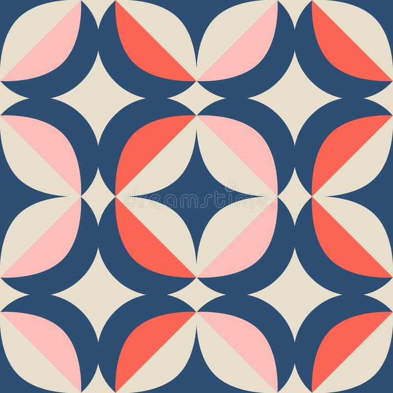 Seamless retro pattern in scandinavian style with geometric elements stock illustration