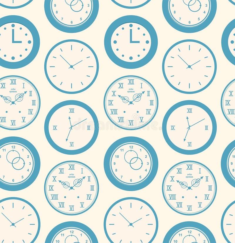 Seamless retro pattern texture with round clocks vector illustration