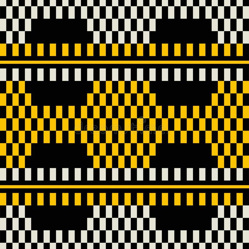 Seamless retro print of wide stripes with chessboard pattern ins royalty free illustration
