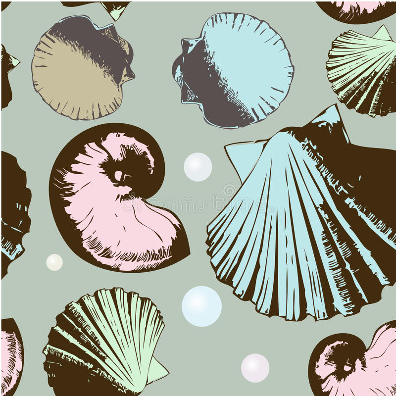 Seamless retro shells. Seamless pattern with retro shells stock illustration