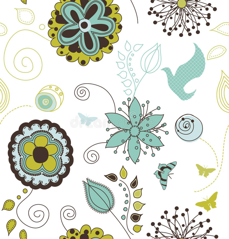 Download Seamless Retro Style Nature Pattern Royalty Free Stock Photos - Image: 12045698