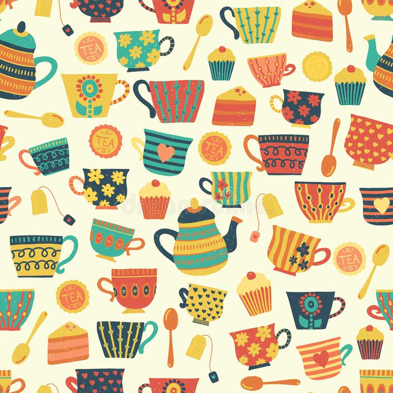 Seamless retro tea cup vector pattern background beige. Distressed vintage look. Hand drawn tea mugs, teapot, spoons, cupcake. For. Seamless retro tea cup vector stock illustration