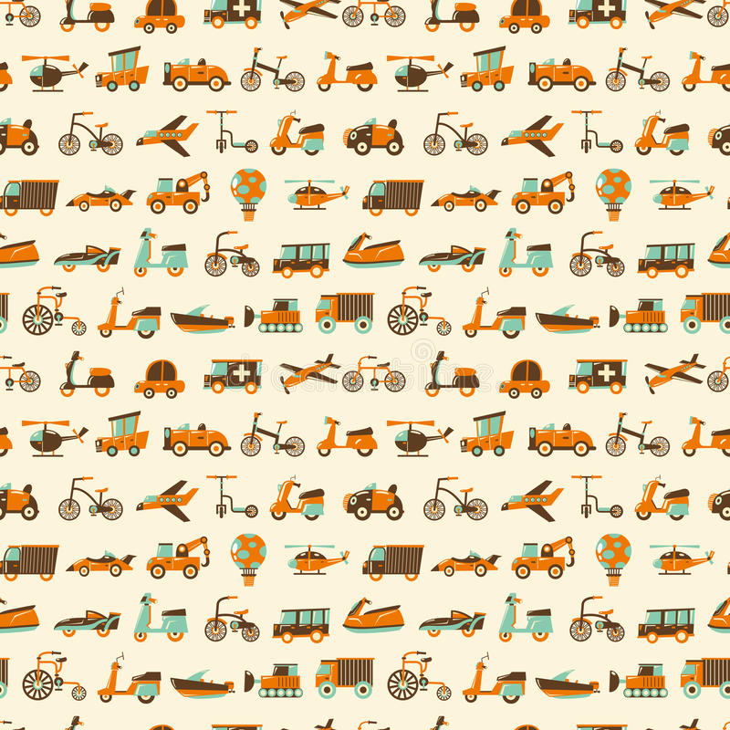 Download Seamless Retro Transport Pattern Stock Vector - Image: 29320665
