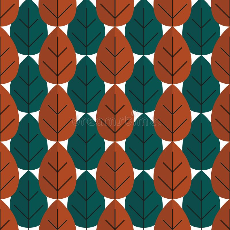 Seamless retro tree autumn pattern with forest illustration in vector vector illustration