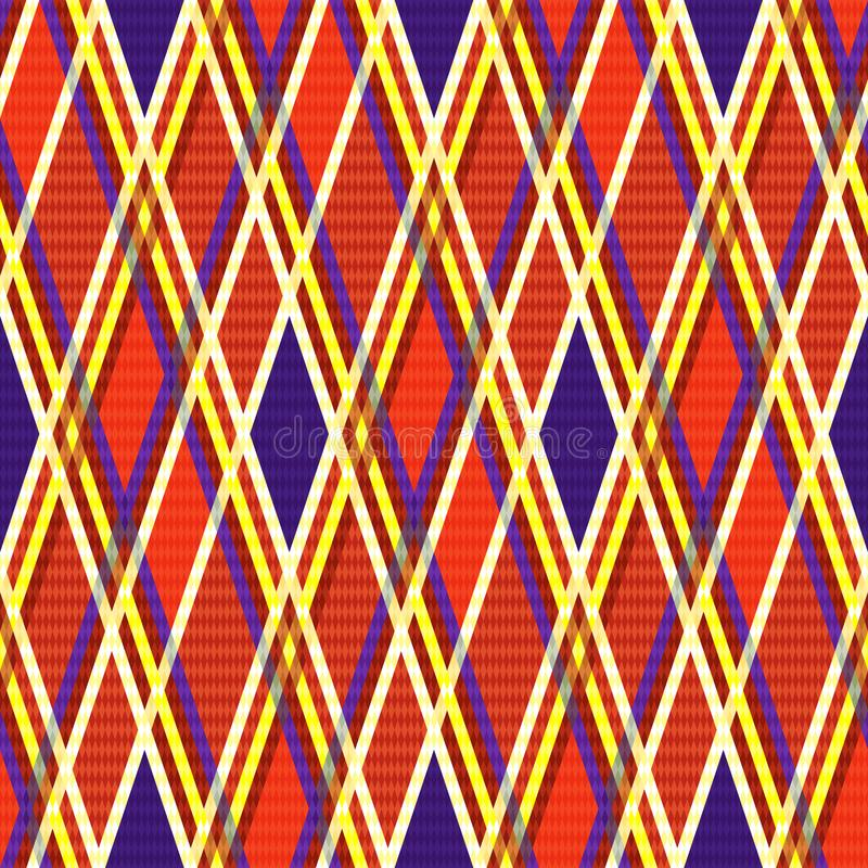 Seamless rhombic bright texture. Bright seamless rhombic pattern in orange, violet and yellow hues, vector as a fabric texture vector illustration