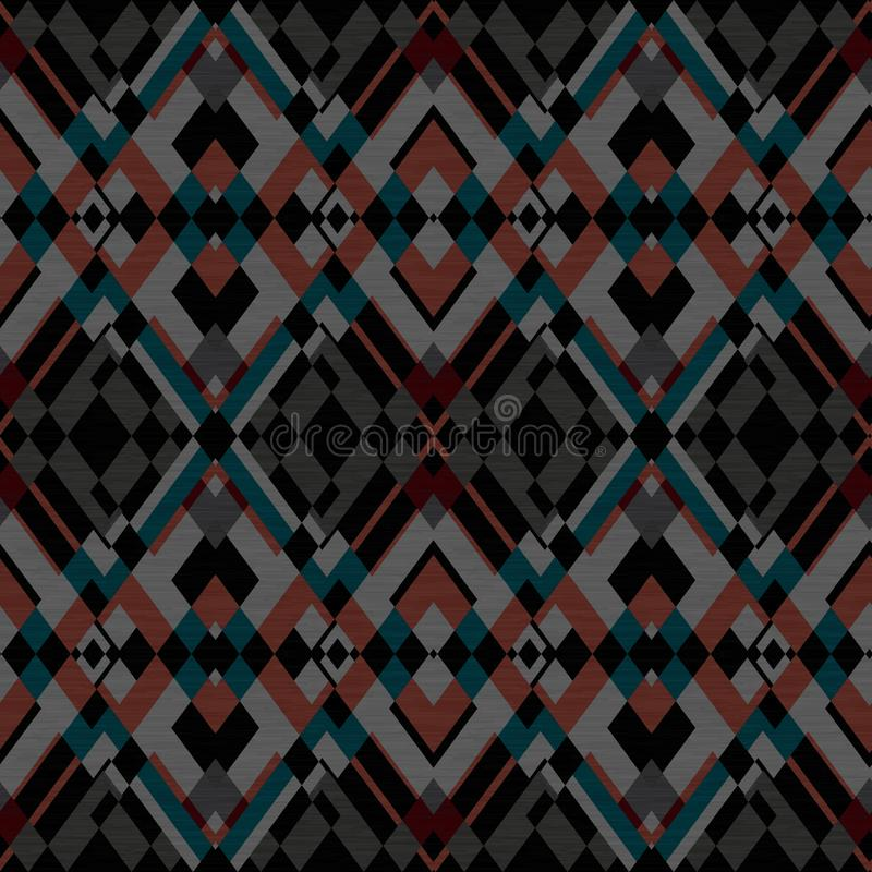 Seamless rhombic ethnic pattern, dark background. background. Colorful background vector illustration