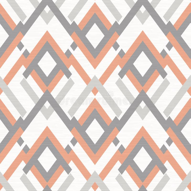Seamless rhombic ethnic pattern, gray, orange ornament on white background. Colorful background vector illustration