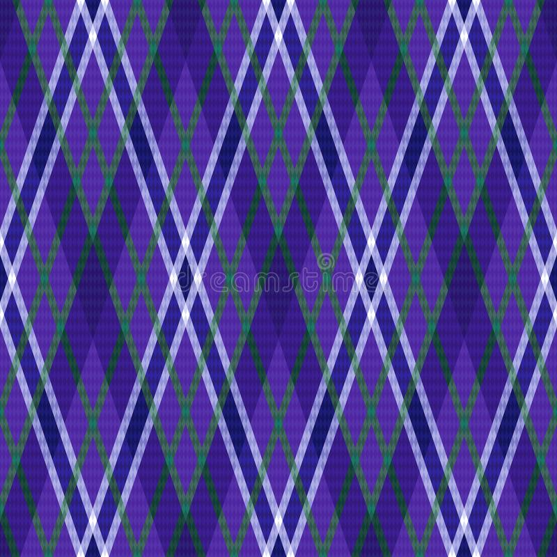 Seamless rhombic pattern in violet hues. Rhombic seamless rhombic pattern in violet hues with green and purple lines, vector as a fabric texture stock illustration