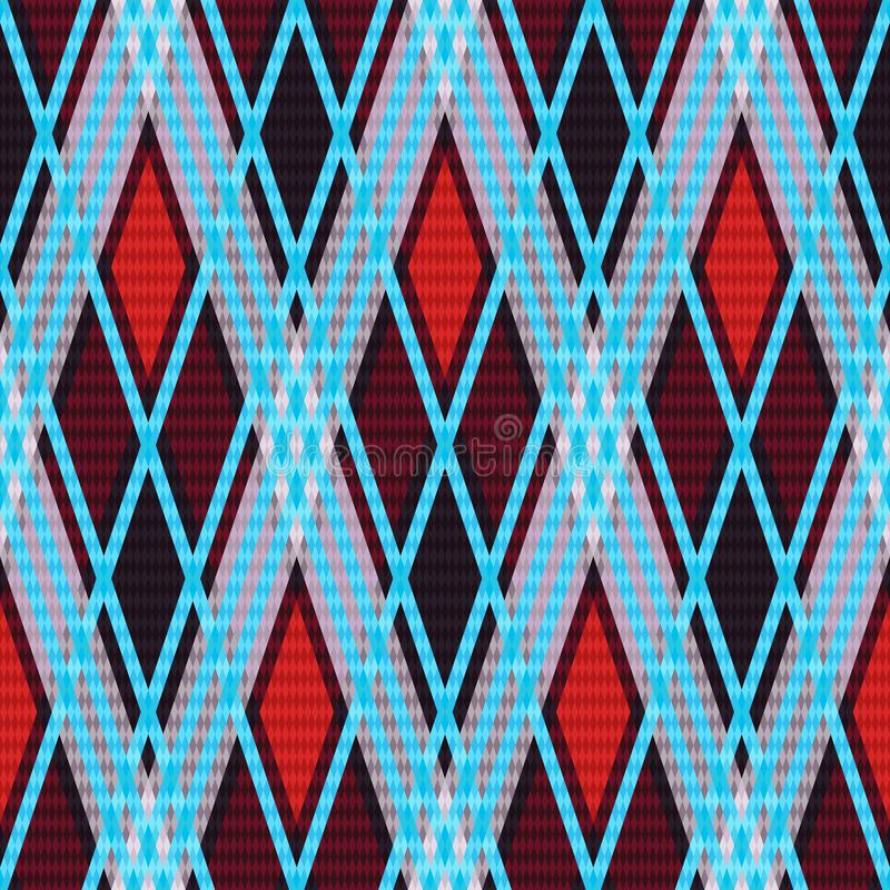 Rhombic seamless pattern. Seamless rhombic texture mainly in red and grey hues with light blue lines, vector as a fabric texture stock illustration