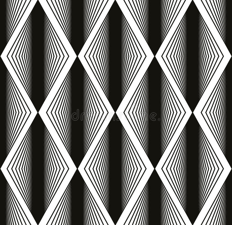 Seamless rhombus pattern, abstract geometric black and white bac royalty free illustration