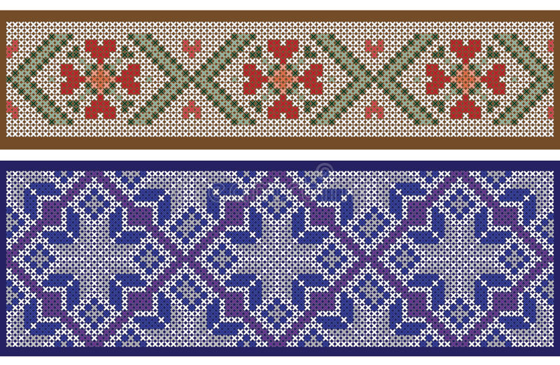 Seamless ribbon patterns, separated from background, cross-stitch embroidery imitation. royalty free illustration