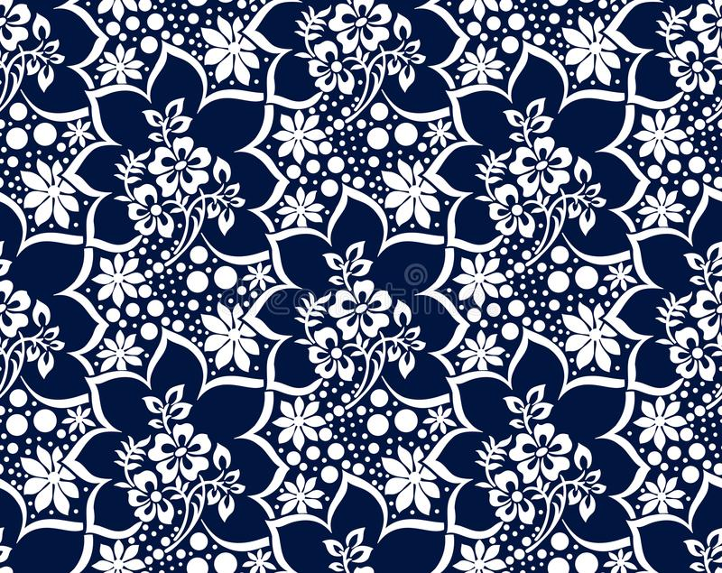 Seamless damask dark blue vector wallpaper stock illustration