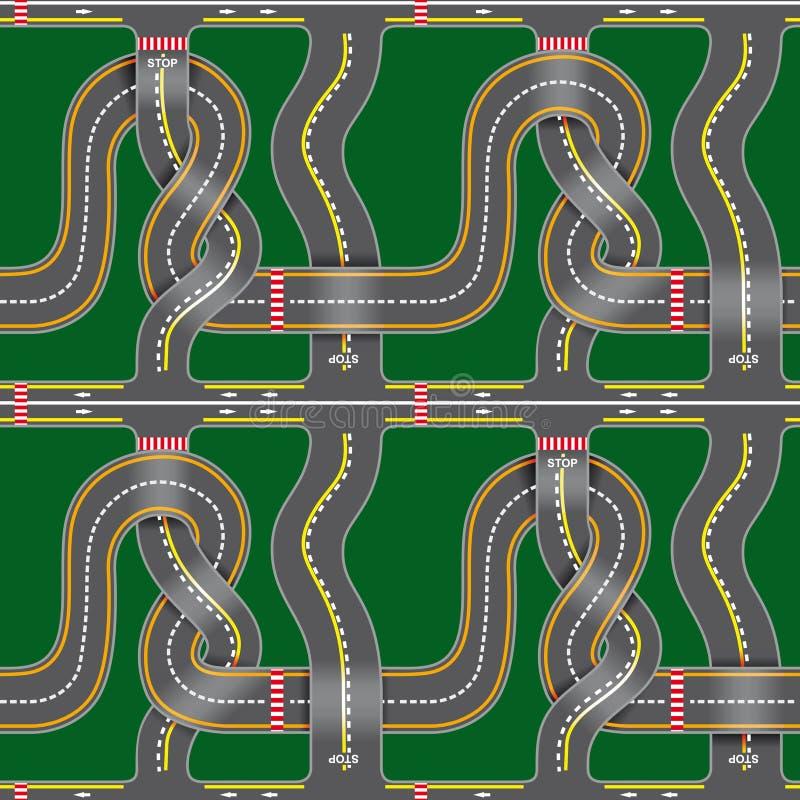 Seamless road map vector illustration