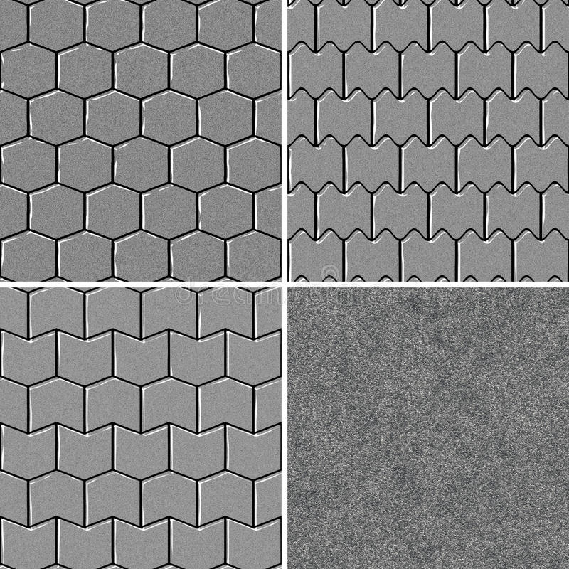 Seamless road pavement pattern. Set of four road pavement texture background close up royalty free illustration