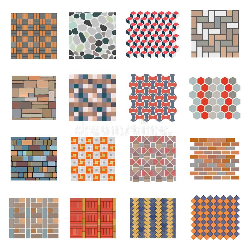 Seamless road stone tile set. Tiles for home and industrial projects, building and construction material, paving stone elements. Vector flat style cartoon vector illustration