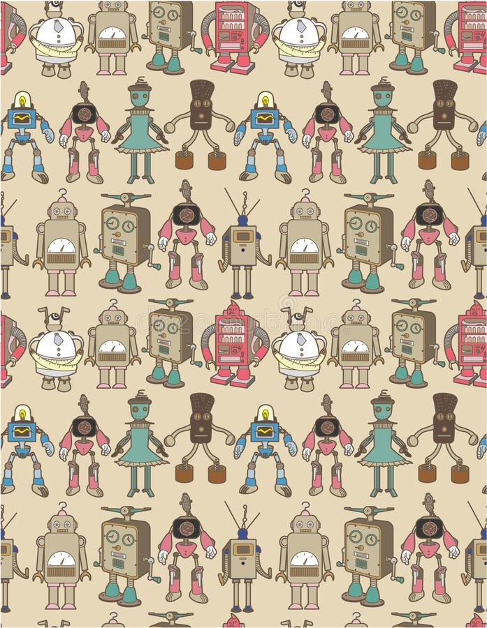 Download Seamless robot pattern stock vector. Image of electronic - 17260640