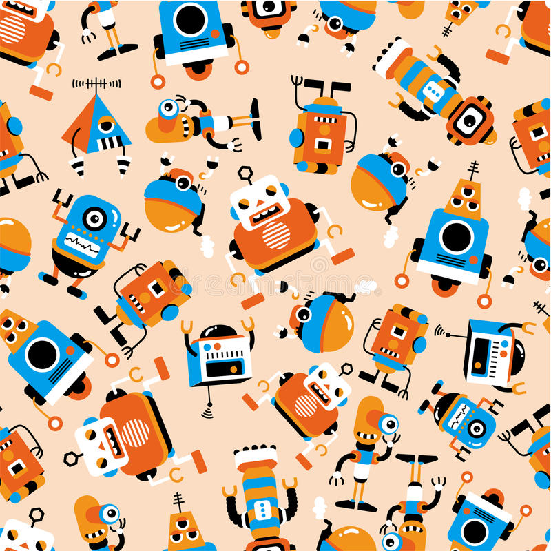 Download Seamless robot pattern stock vector. Image of cute, computer - 17598314