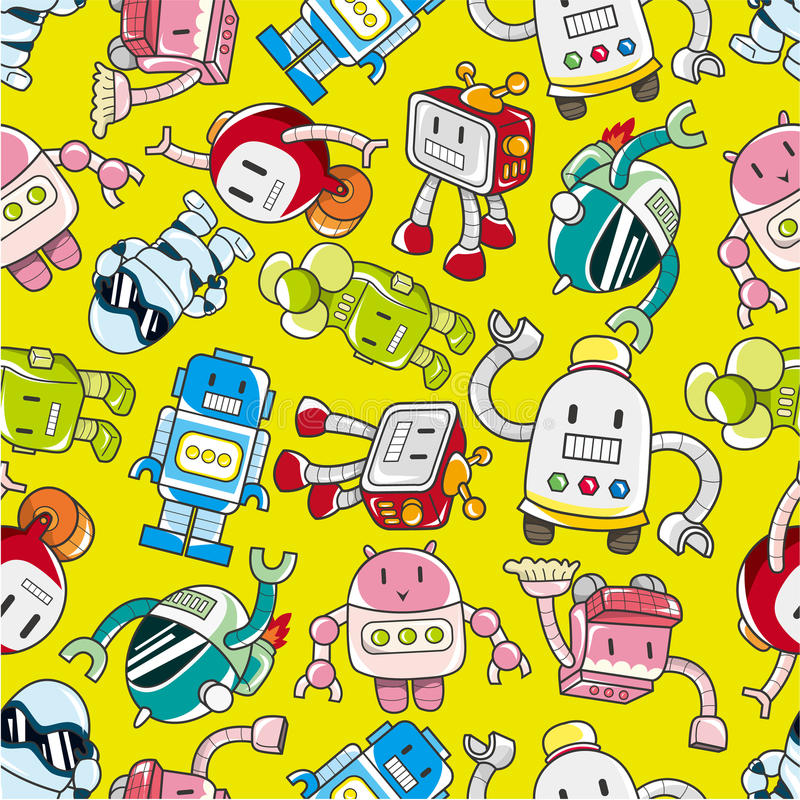 Download Seamless robot pattern stock vector. Illustration of machine - 17598476