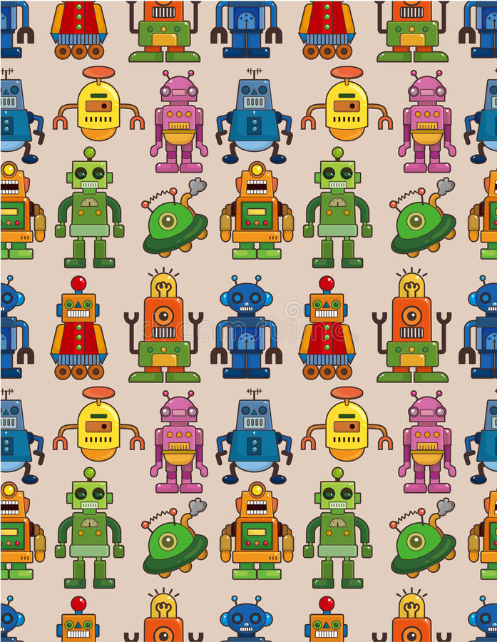 Download Seamless robot pattern stock vector. Image of machine - 19739711