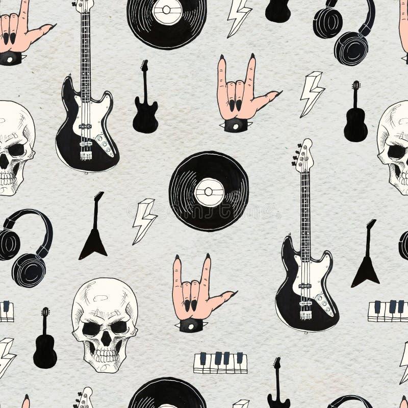 Seamless Rock background. Abstract music modern pattern. stock illustration