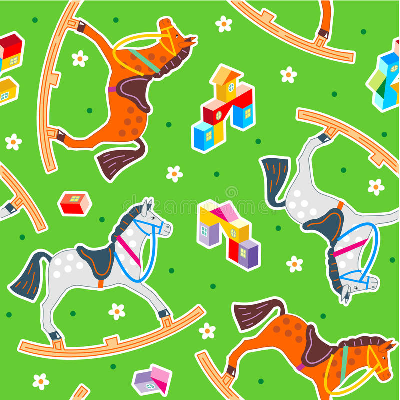Seamless rocking horses pattern vector illustration