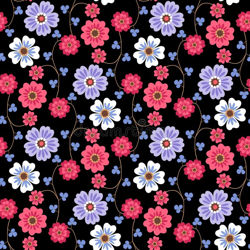 Seamless romantic floral pattern with red, white and lilac flowers and small blue leaves on black background in vector stock illustration