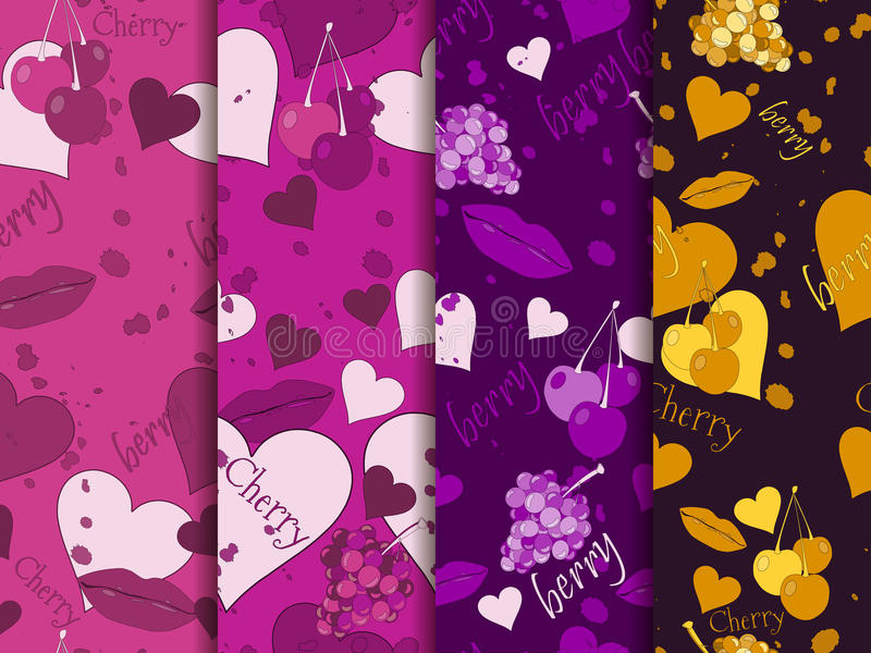 Seamless romantic pattern. Background with hearts, berries and lips. Elements of grunge style. Vector illustrations royalty free illustration
