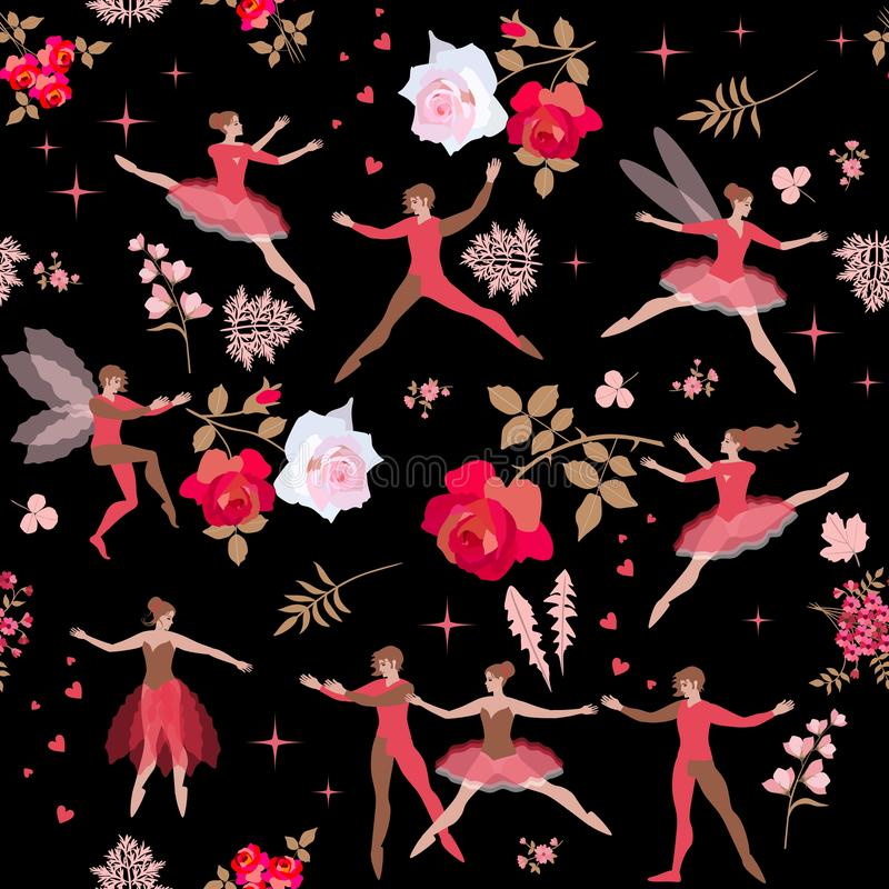 Seamless romantic pattern with ballet dancers in red clothes, beautiful big roses, leaves and hearts. Bright vector illustration. royalty free illustration