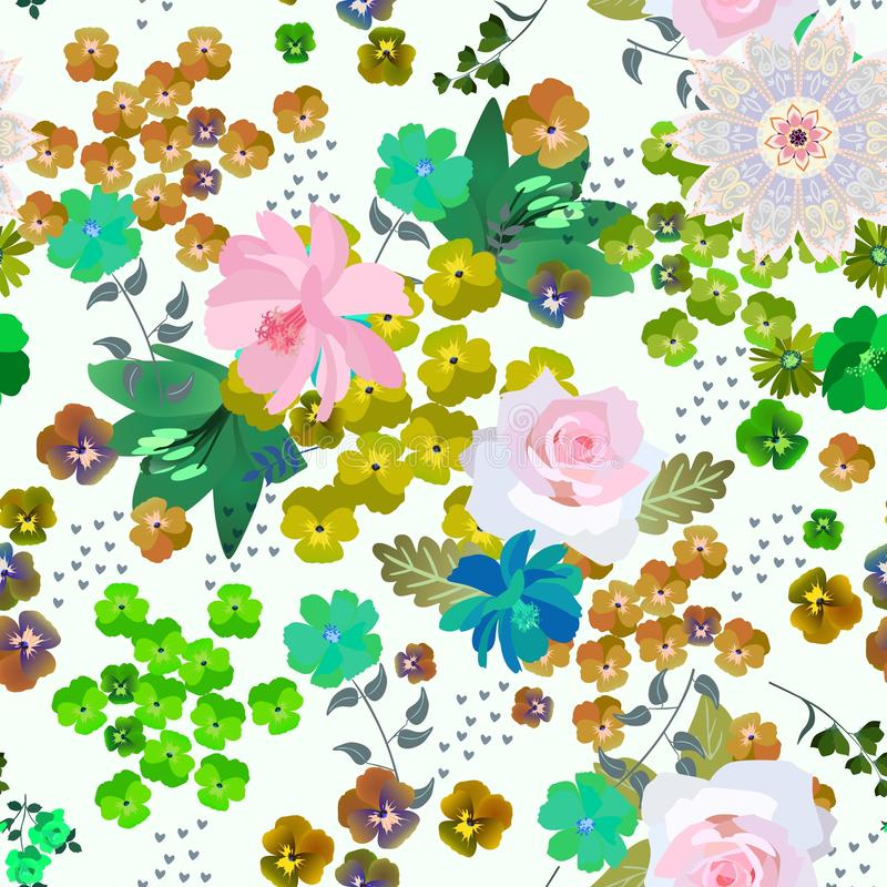 Seamless romantic pattern with gentle flowers, leaves and little hearts on white background in vector. Summer print for fabric stock illustration