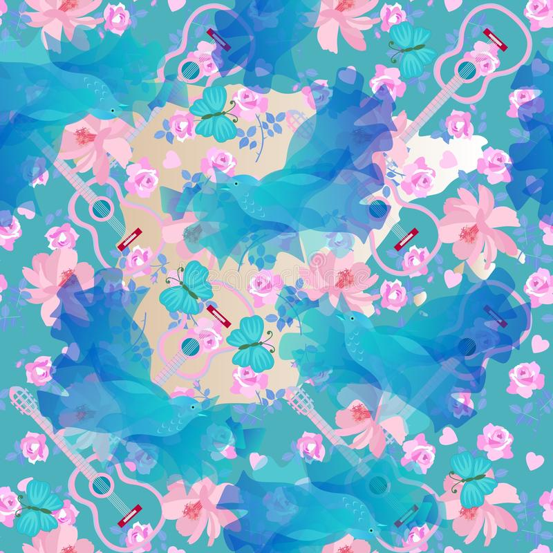 Seamless romantic pattern with guitar silhouettes, blue birds and butterflies, gentle pink flowers and little hearts. Print royalty free illustration