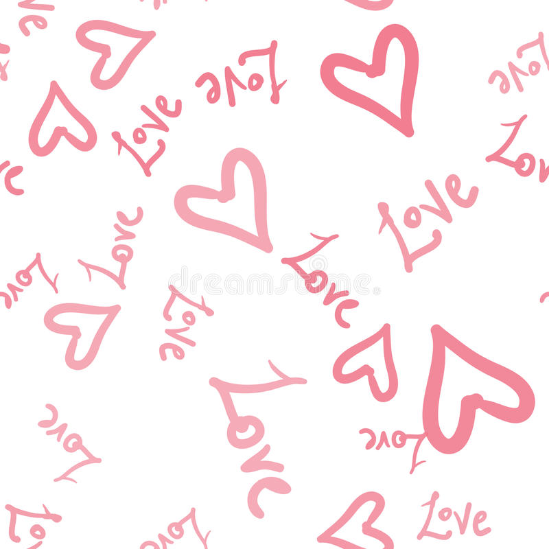 Seamless Romantic pattern with hearts and world Love. Valentines day decoration texture. Love concept warping paper royalty free illustration