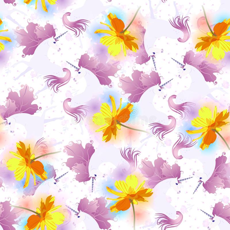 Seamless romantic pattern with magic unicorns, huge cosmos flowers, little rose and tiny tulips on white background. Watercolor stock illustration