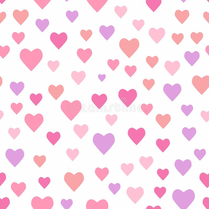 Seamless romantic pattern with randomly scattered hearts. Vector illustration. vector illustration